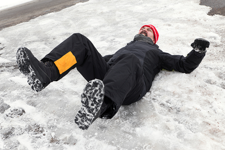 Slip and Fall victim on ice
